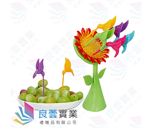 向日葵鳥兒水果叉