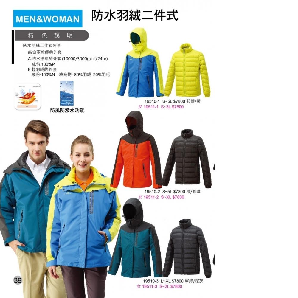 (兩件外套式)-外防水透氣 內輕羽絨外套