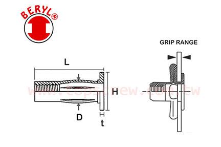 四叉割溝拉帽 - 膨脹型 ( 剖溝拉帽,開叉型拉帽)