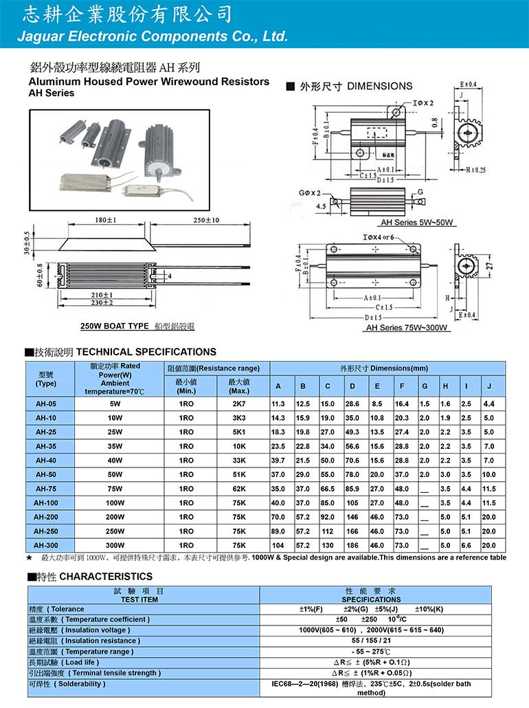 鋁外殼功率型線繞電阻