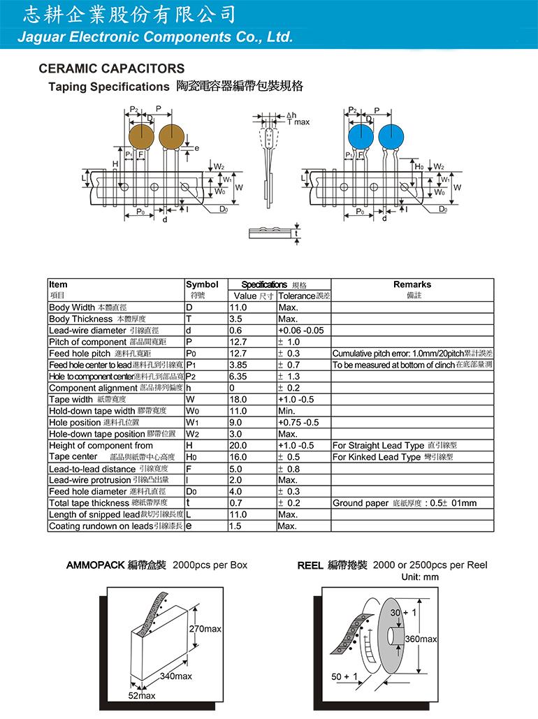 陶瓷電容器編帶包裝規