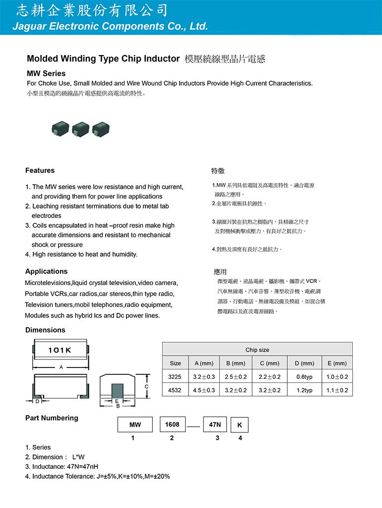 模壓繞線型晶片電感M