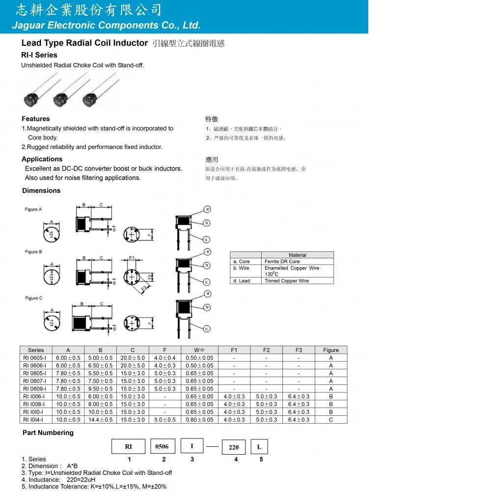 引線型立式線圈電感無護殼型RI-I系列