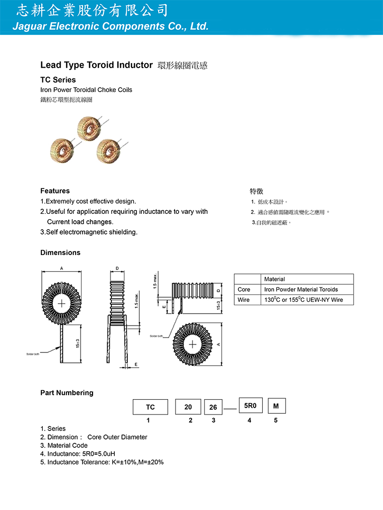 環形線圈電感TC系列