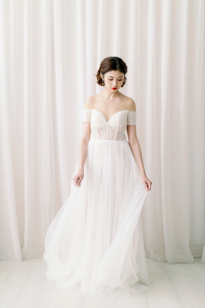 NWA09白色短袖蕾絲精緻婚紗