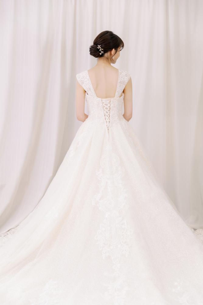NWP10華麗卡肩三穿香檳白精緻婚紗