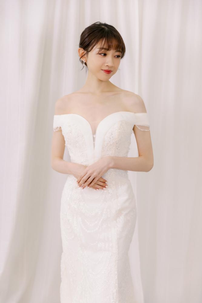 NWF14卡肩珠鑽魚尾精緻婚紗