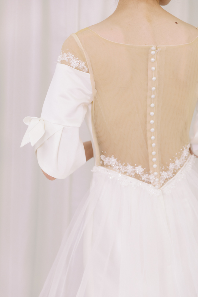 NWF013緞面蝴蝶結精緻婚紗