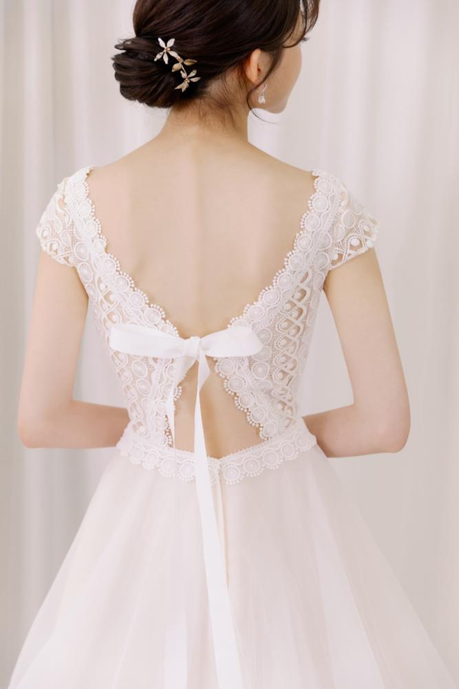 NWA16小包袖後蝴蝶結綁帶韓系輕婚紗