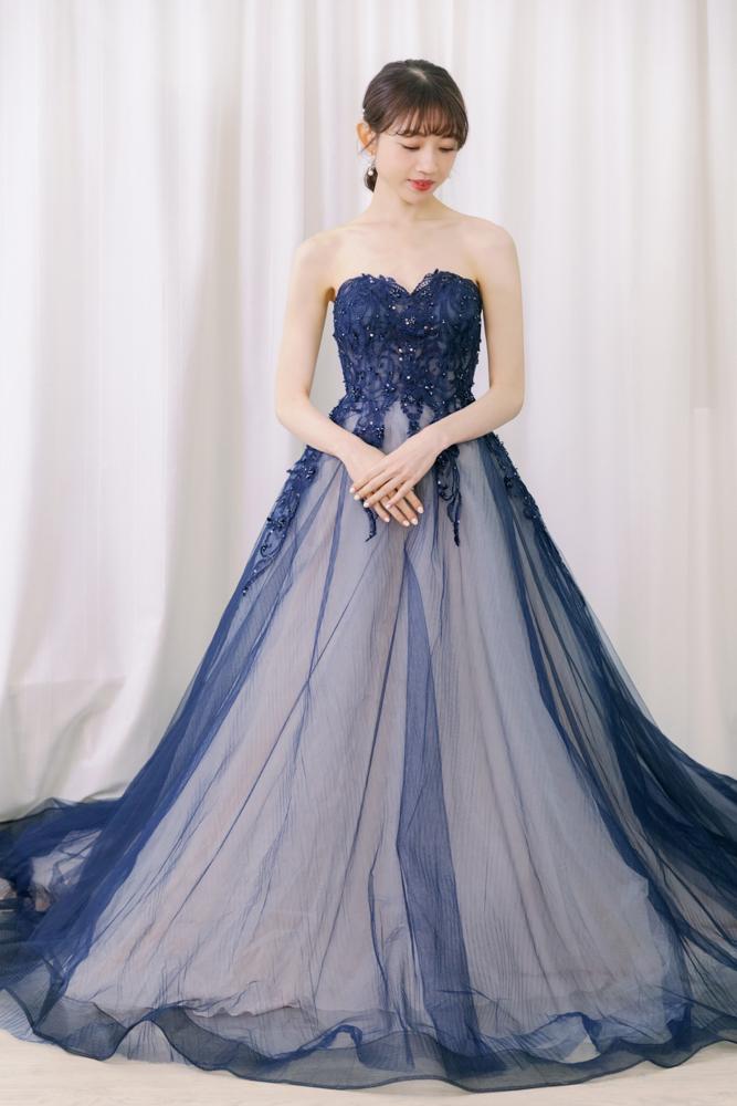 NSK17深藍桃心領刺繡透紗晚禮服