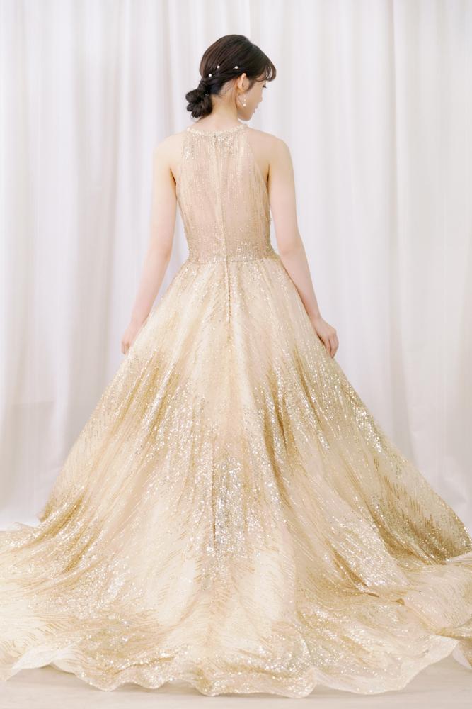 NE16繞頸金色亮片晚禮服