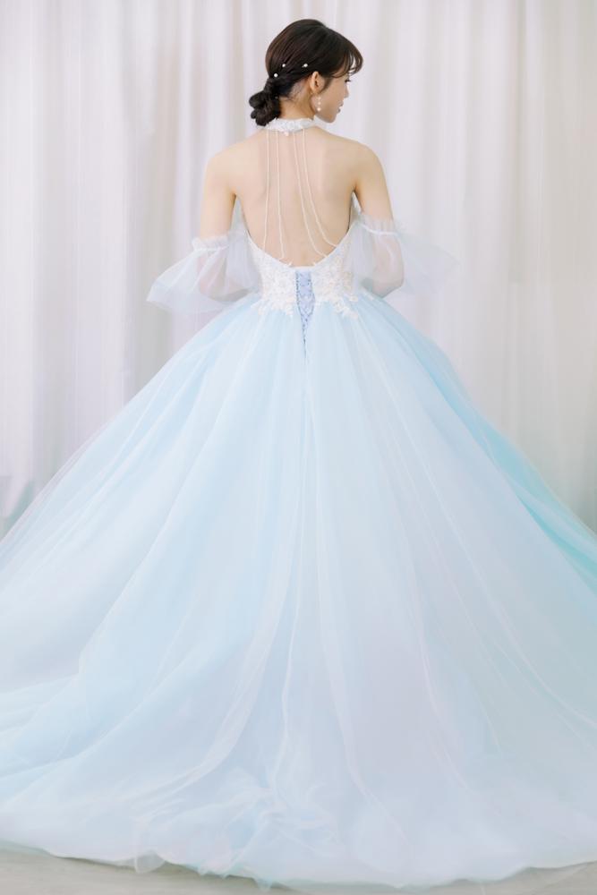 NSK16天空藍削肩華麗蓬裙