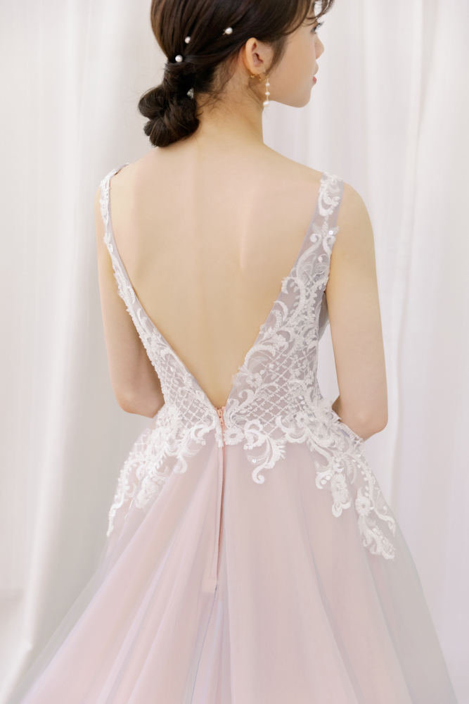 NPK07蕾絲粉紫晚禮服