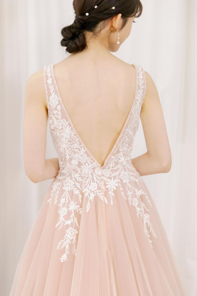 NPK08藕粉白蕾絲晚禮服
