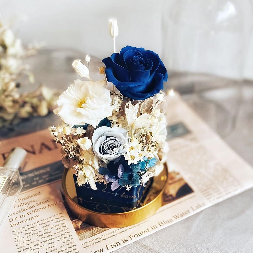 經典玻璃永生玫瑰鐘罩-客製化配色專區