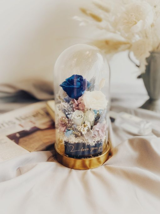 經典玻璃永生玫瑰鐘罩