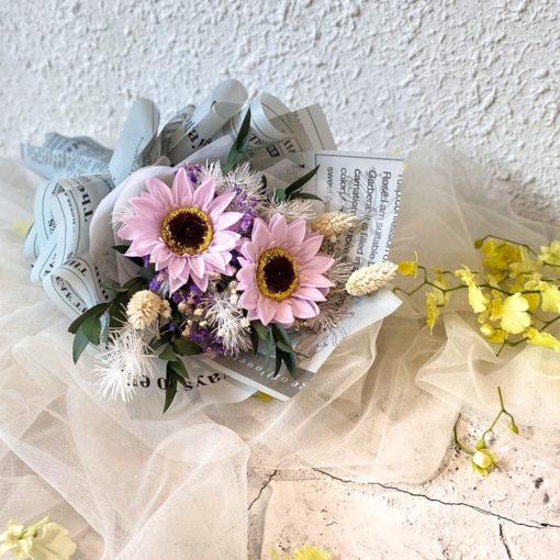 畢業花束-熱門款-淡香向日葵乾燥花束-歐風紫