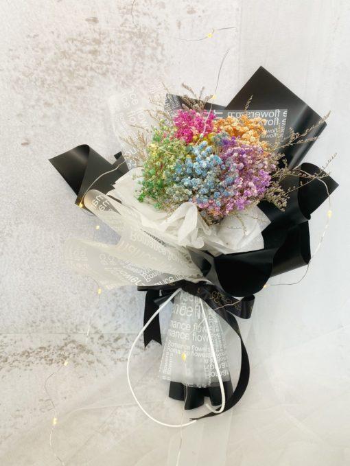彩色滿天星乾燥花花束