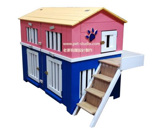 上下兩層狗屋設計,老