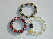 紅玉髓、鈦絲及黃水晶