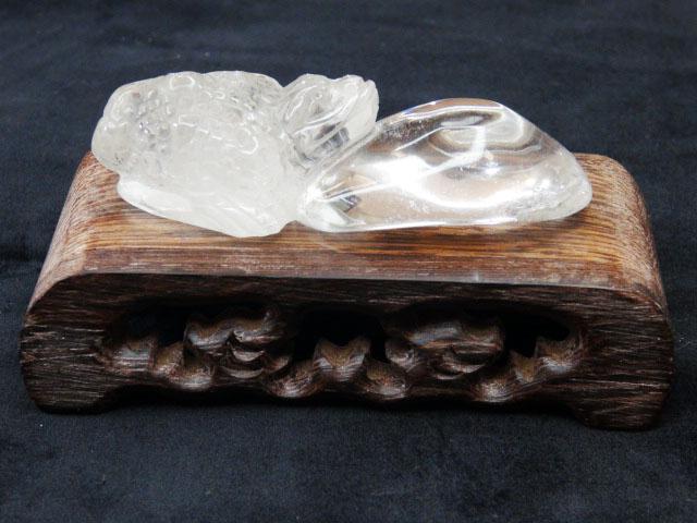 白水晶金蟾蜍藝品(含