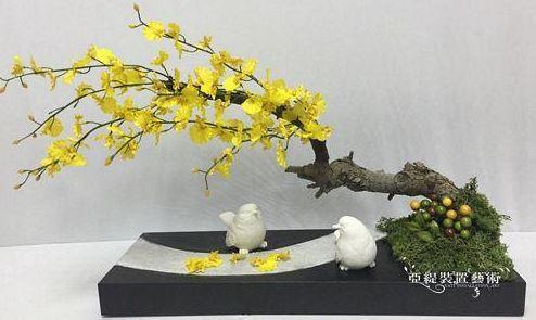 砂岩小鳥造型花藝_文