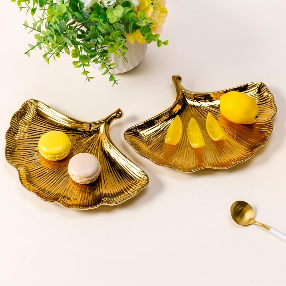T0632-22-C011   陶瓷銀杏葉果盤NHTC1653鍍金