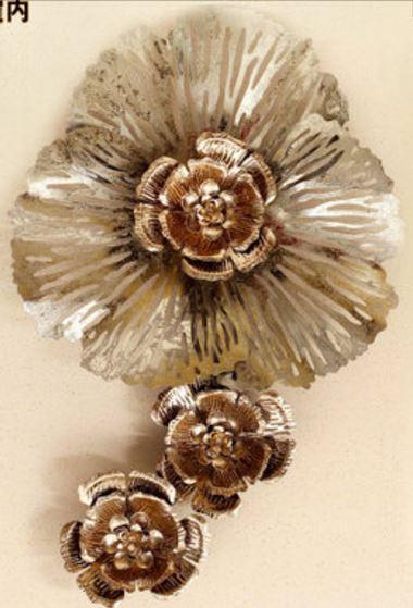 P0260-34-C106   立體金屬壁飾-黃金縷E款(一大二小)